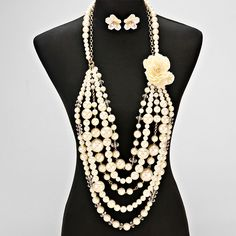 Floral Pearl Drop Necklace Set