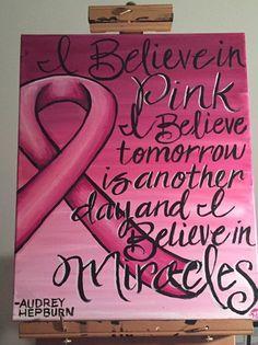 Audrey Hepburn Breast Cancer Awareness Painting by KreativelyDun #breastcancerawarenessquotes