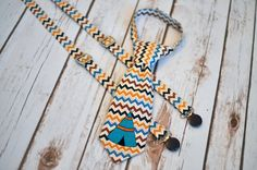Little Guy Tie and Suspenders Aztec Indian Teepee by FreshForHim