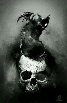 scary cat Black and White creepy MY EDIT horror dark skull Wings Black Cat dark art Tattoo Gato, Cat Skull Tattoo, Robot Tattoo, Scary Cat, Creepy, Arte Obscura, Arte Horror, Skull And Bones, Gothic Art