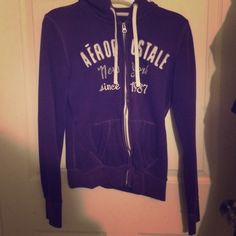 Lightweight Aeropostale women's zip-up jacket Purple Aeropostale lightweight zipper jacket for women. Size small, fits true to size. Has some signs of wear on lettering and sleeves but still good wearable condition overall. Aeropostale Jackets & Coats