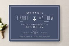 Beach wedding invitation from Minted | See more nautical invitations perfect for a beachside wedding here http://www.washingtonian.com/gallery/weddings/12-beach-wedding-invitations.php