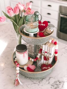 Shop farmhouse mason jar candles at my shop Jumelles Candle Co, tons of great scents to choose from and soy wax. Buy Candles, Mason Jar Candles, Valentines Day Decorations, Valentine Day Crafts, Farmhouse Candles, Holiday Themes, Handmade Candles, Tray Decor, Galvanized Tray