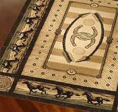 Delectably Yours Western Horse Stampede Border Rug 2x3 accent, 2x8 runner 5x8 or 8x10  #DelectablyYours Western Rugs & Home Decor