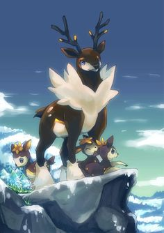 Sawsbuck & Deerling from Pokemon Kalos Pokemon, Gif Pokemon, Pokemon Images, Pokemon Fan Art, Pokemon Pictures, Images Kawaii, Chibi, Animation, Catch Em All