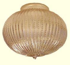 Vintage Art Deco Glass Ceiling Light Shade.  Transparent Gold Iridescent Globe ideal for Flush Mount Ceiling or Fan Light Fixtures.