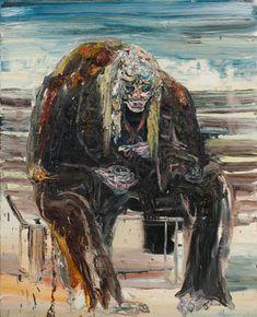 Artist Painter Allison Schulnik - Yogurt Eater - 2011 - Oil on Linen Woman Painting, Figure Painting, Modern Artwork, Contemporary Paintings, Brain Illustration, Dark Paintings, Female Painters, Elements Of Art, Community Art