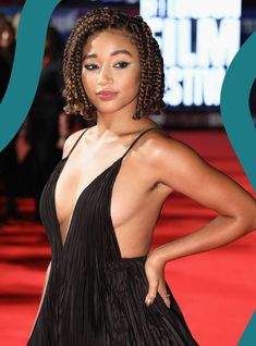 Amandla Stenberg Proves That Armpit Hair Belongs On The Red Carpet is part of braids - For the premiere of her film The Hate U Give, Stenberg put her body hair in the spotlight Short Box Braids, Bob Braids, Twist Braids, Box Braids Hairstyles, My Hairstyle, Amandla Stenberg, Curly Hair Styles, Natural Hair Styles, Braids For Black Hair