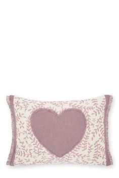 Mauve Embroidered Heart Cushion from Next