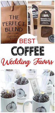 BEST Coffee wedding favors your guest will love to take home as a gift. AMAZING wedding favors - DIY ideas inexpensive creative unique fun cheap & more. Easy wedding favors that everyone will want! Coffee Wedding Favors, Coffee Favors, Handmade Wedding Favours, Creative Wedding Favors, Elegant Wedding Favors, Edible Wedding Favors, Wedding Favors For Guests, Personalized Wedding Favors, Wedding Favor Tags