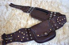 Brown Grommets Galore Unisex Burner Leather Utility Belt Bag