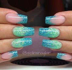 Aqua glitter nails