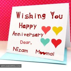 Wishing U Happy Anniversary Dear Name Write Greeting Cards Couple Editing Card Wishes Photos