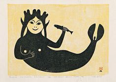 """Telluiyuk Sea Goddess"" Paulassie Pootoogook (1960) Cape Dorset Annual Fall Print Collection - Stonecut Print."