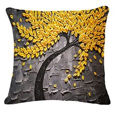 Oil Painting Black Large Tree and Flower Birds Cotton Lin...