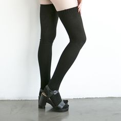 Thigh Highs and the Wooden Heel Sandal