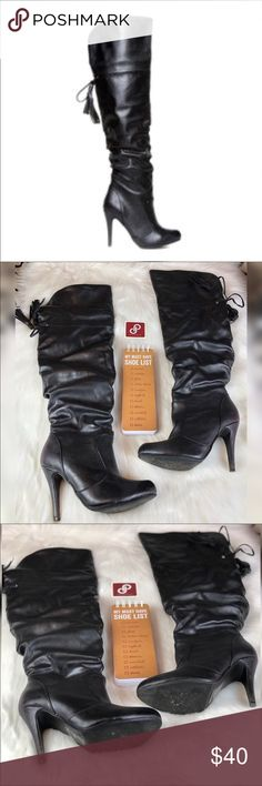 "Scene Yudelka Heeled Boots Size 7.5 Scene Yudelka Black Heeled Boots Size 7.5. These boots are super sexy with a 4"" inch heel. The boots lace up with a tassel on the end in the back. These OTK boots are perfect for going out. Excellent Condition. Comes with box. Welcome to Coco's Closet 👸🏾 Need Measurements? Have questions? ☺️Just comment below 👇🏾Accepting Most Offers ✅ I'm here to make sales and always willing to negotiate. Bundle your likes for a private offer 📦☺️ Scene Shoes Over the…"
