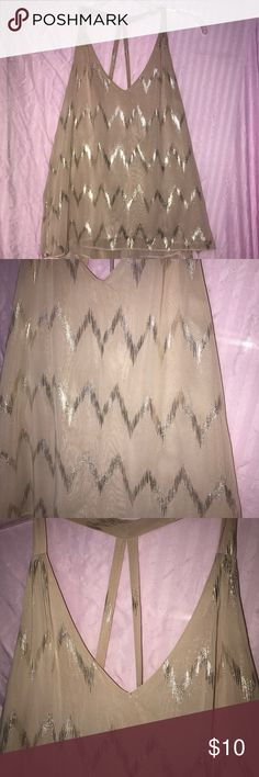 Chiffon Nude Metallic Dressy Tank This tank is super cute. With the back details, it's easy to take it from office to happy hour! Chiffon. Gently used. Amazing condition!!! Forever 21 Tops Tank Tops