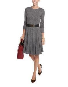 Grey Pleated Knit Jersey Dress