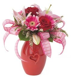 valentines+floral+arrangements | Mix flowers like pink stargazer lilies, pink gerbera daisies and red ...