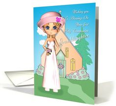 Granddaughter first holy communion little girl and church card