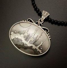 Plum tree and the moon silver Keum Boo pendant van KAZNESQ op Etsy
