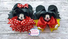 Hey, I found this really awesome Etsy listing at https://www.etsy.com/listing/268452332/mickey-and-minnie-hair-bows-minnie-and