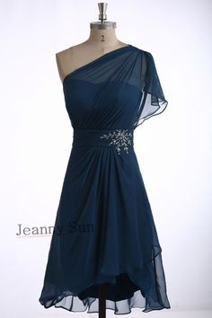Find More Mother of the Bride Dresses Information about Short Mother Of The Bride Dress with Beads One Shoulder Chiffon vestido de madrinha Navy Blue Mother Evening Dress JS319,High Quality dress with a cape,China dresses christmas Suppliers, Cheap dress sweaters for men from Jeanny Sun's store on Aliexpress.com