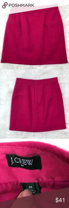 """J. Crew Wool Blend Skirt. Size 00 Vibrant pink wool blend skirt. Accent detail stitching front and back. Hidden back zip. Excellent condition. Approximate measurements laying flat  Waist 13.5"""" Length center back 17"""" J. Crew Skirt Size 00  VM3 J. Crew Skirts"""