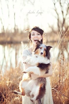 A girl and her sheltie.  Love.
