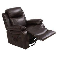 Goplus Ergonomic Massage Sofa Chair Head Supported Recliner Swivel Heating w/ Control
