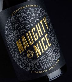 Naughty & Nice Chocolate Stout from Vocation Brewery Luxury Packaging, Bottle Packaging, Brand Packaging, Medical Packaging, Packaging Design, Coffee Packaging, Food Packaging, Luxury Branding, Luxury Logo Design