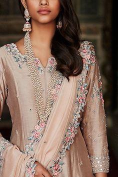 Buy Chanderi Silk Kurta Sharara Set by Matsya at Aza Fashions - Desi Wedding Dresses, Pakistani Bridal Dresses, Pakistani Outfits, Indian Dresses, Indian Outfits, Emo Outfits, Party Dresses, Coral Gown, Indian Fashion