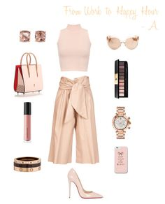"""""""From Work to Happy Hour"""" by honeysweet3 on Polyvore featuring MSGM, WearAll, Yves Saint Laurent, Bare Escentuals, Christian Louboutin, Versace, Carolee, Cartier and Linda Farrow"""