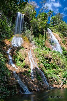 The El Rocio waterfall in Parque Guanayara in Topes de Collantes near Trinidad, Cuba.