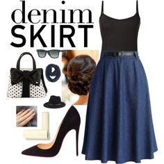 Denim Skirt #1 by panenguin on Polyvore featuring polyvore fashion style Chicwish Christian Louboutin Betsey Johnson Paula Bianco rag & bone Ray-Ban Eos