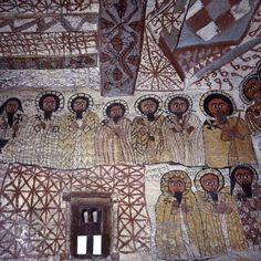Murals Decorate Interior of Rock-Hewn Church, Yohannes Maequddi, Gheralta Mountains, Ethiopia