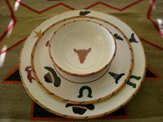 GAETANO POTTERY ~ COWBOY ~ WESTERN PLACE SETTING ~ DINNERWARE