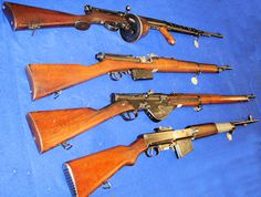 some early semi-automatic rifles, from top to bottom: 1918 .303 Farquhar Hill; 1909 Mondragon (7.92mm); 1917 MAT Mk 1917; 1929 Czech Brno Z.H.29