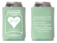 Mason Jar Wedding Koozies Something Old Something by SipHipHooray