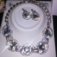 Silver Crystal Evening Necklace Set