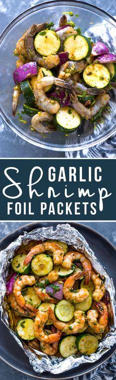 Garlic Shrimp and Veggie Foil Packs