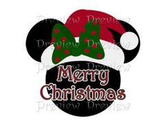 Printable Christmas Minnie Head Iron On Transfer - Cruise Door Magnet or Clip Art - DIY Iron On t-shirt Transfer - Disney Christmas Shirt-