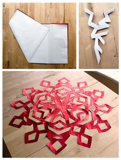 giant paper snowflake cut from wrapping paper.How to Make a Paper Snowflake Tutorial by Lindsey Boardman