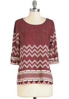 Stroll and Tell Top. Youll happily take a walk or two around the block if it means showing off this burgundy blouse! #red #modcloth
