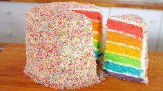 Rainbow Cake (Regenbogenkuchen) Rezept als Back-Video zum selber machen! Ganz einfach Schritt für Schritt erklärt!