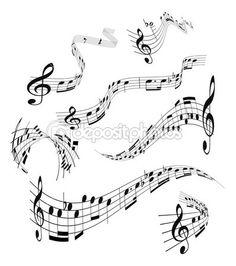 Set of musical notes staff — Imagen vectorial