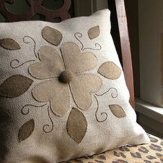 Items similar to Folk Art Floral Applique Pillow on Etsy