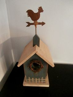 Rooster Weathervane Bird House by Pascalene on Etsy, $42.00