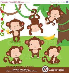 50 OFF SALE Monkey Digital Clipart / Cute Little by ClipArtopia, $2.50